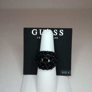 Guess Black Crystal Ring Size 8